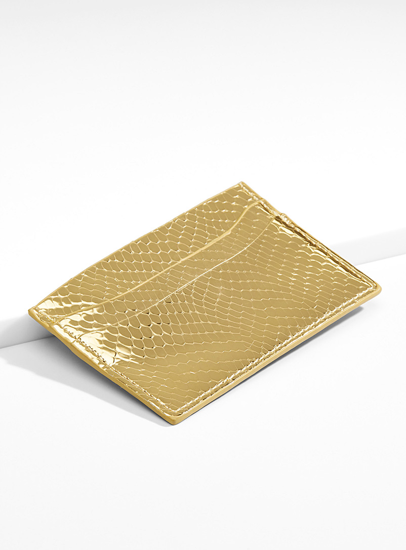 Metallic python card holder - Wallets - Golden Yellow