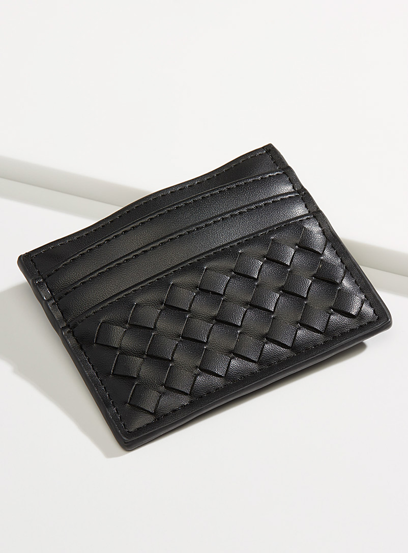 Simons Black Braided monochrome card holder for women