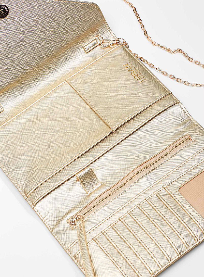 Gleaming envelope clutch - Clutches and Minaudieres - Golden Yellow