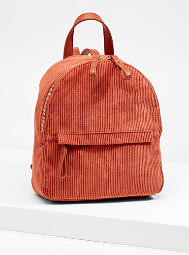 Round corduroy backpack