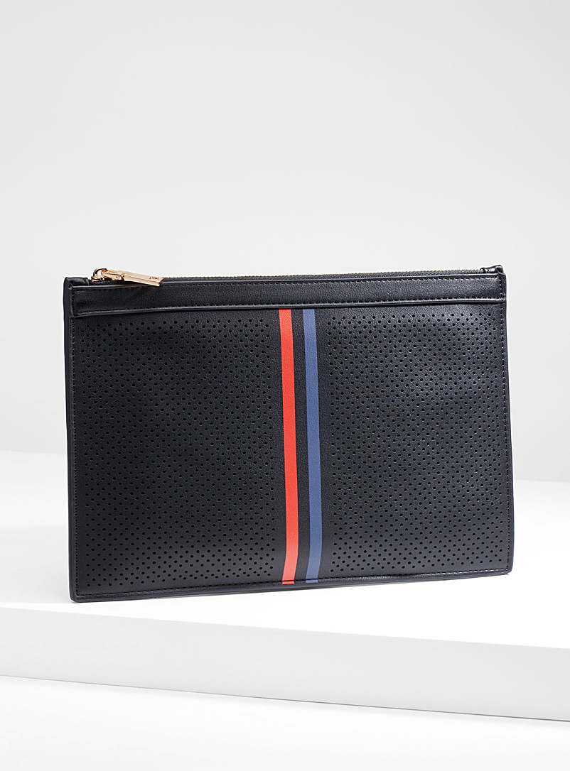 striped-band-micro-perforated-clutch