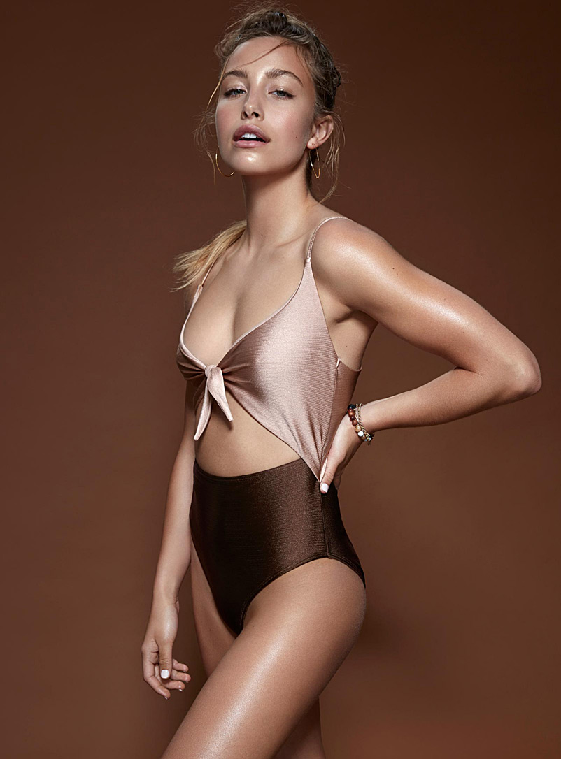 Iridescent cutout one-piece - All Our Swimsuits - Dark Brown