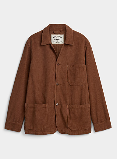 Portuguese Flannel Brown Fine corduroy overshirt for men