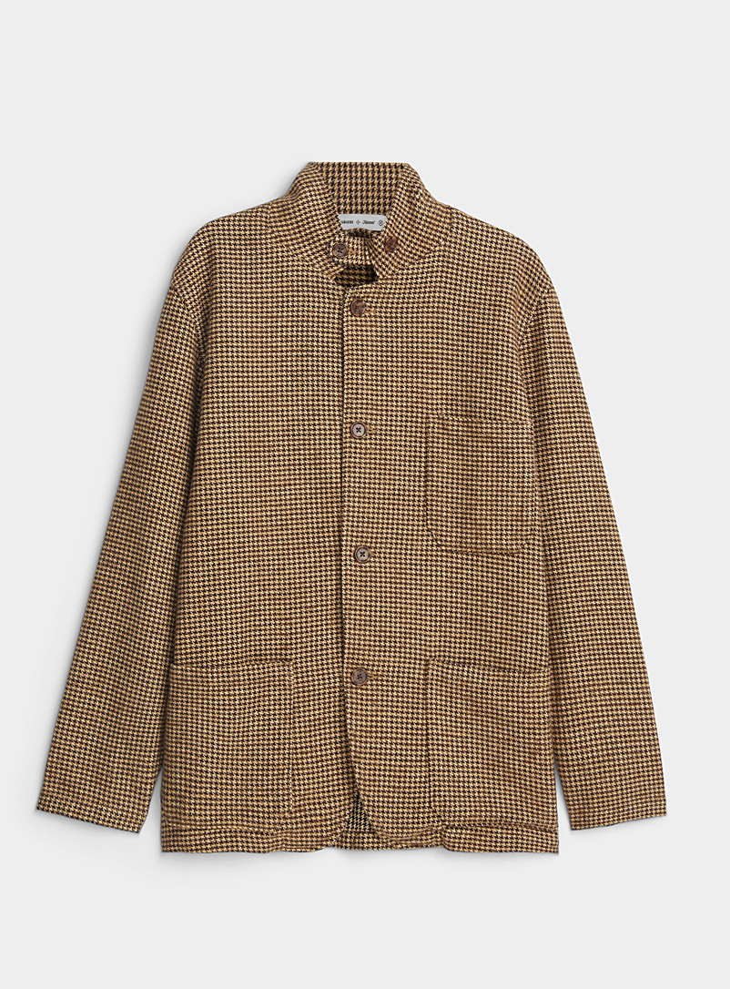 Natural houndstooth overshirt