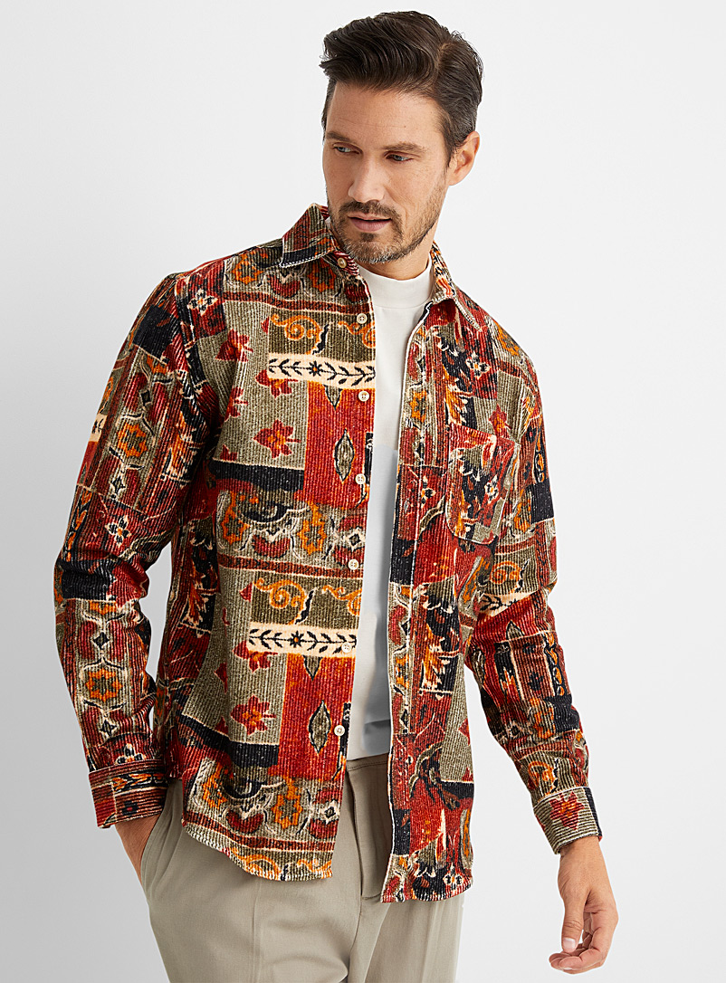 Portuguese Flannel Fawn Patchwork corduroy overshirt for men