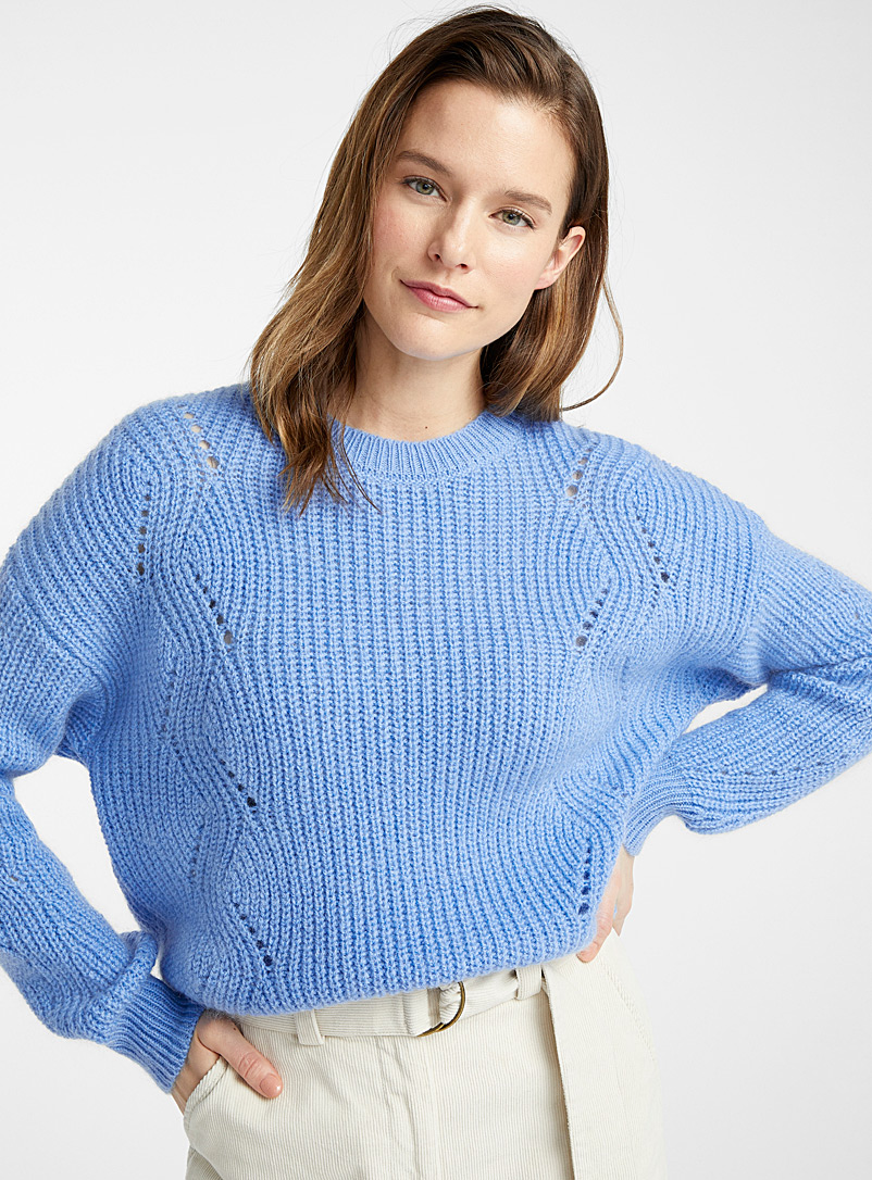 Essentiel Antwerp Baby Blue Vally openwork knit sweater for women