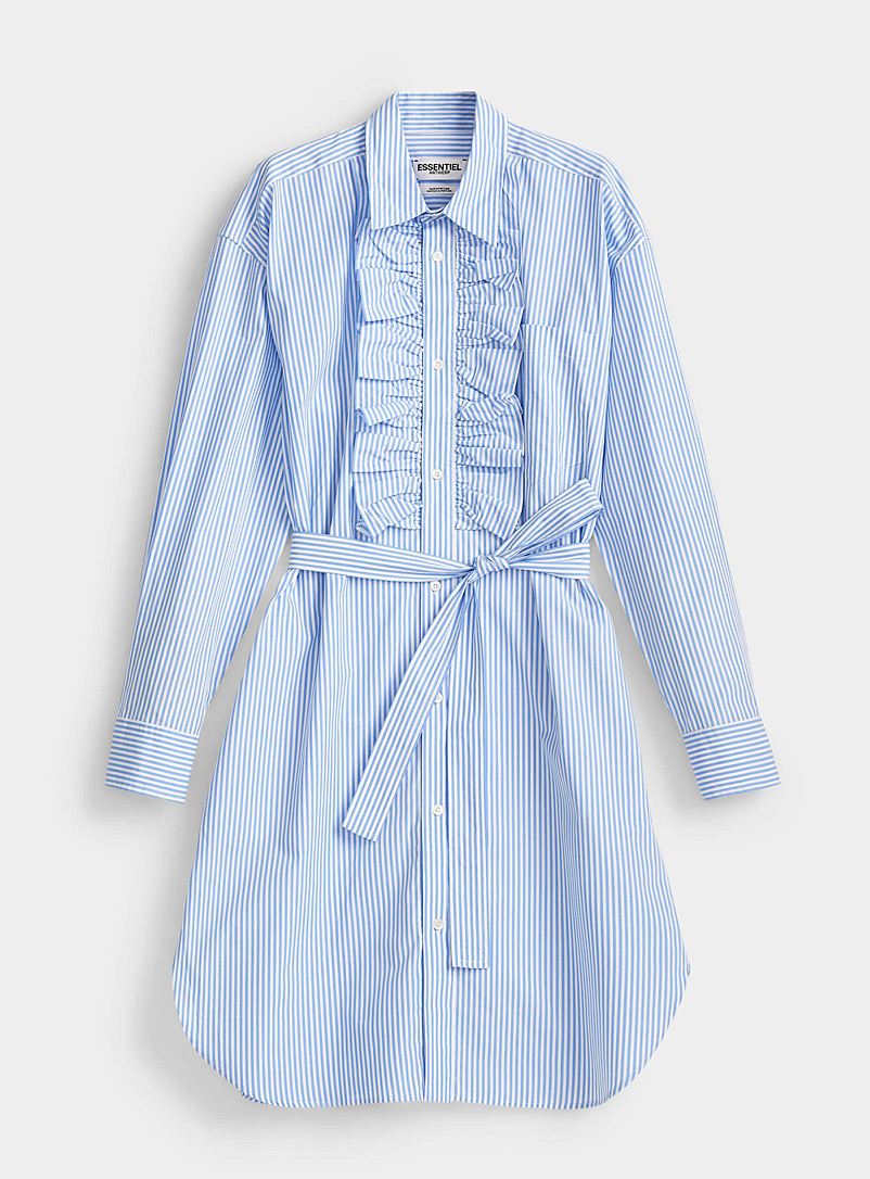 Essentiel Antwerp Patterned Blue Ruffle-bib shirtdress for women