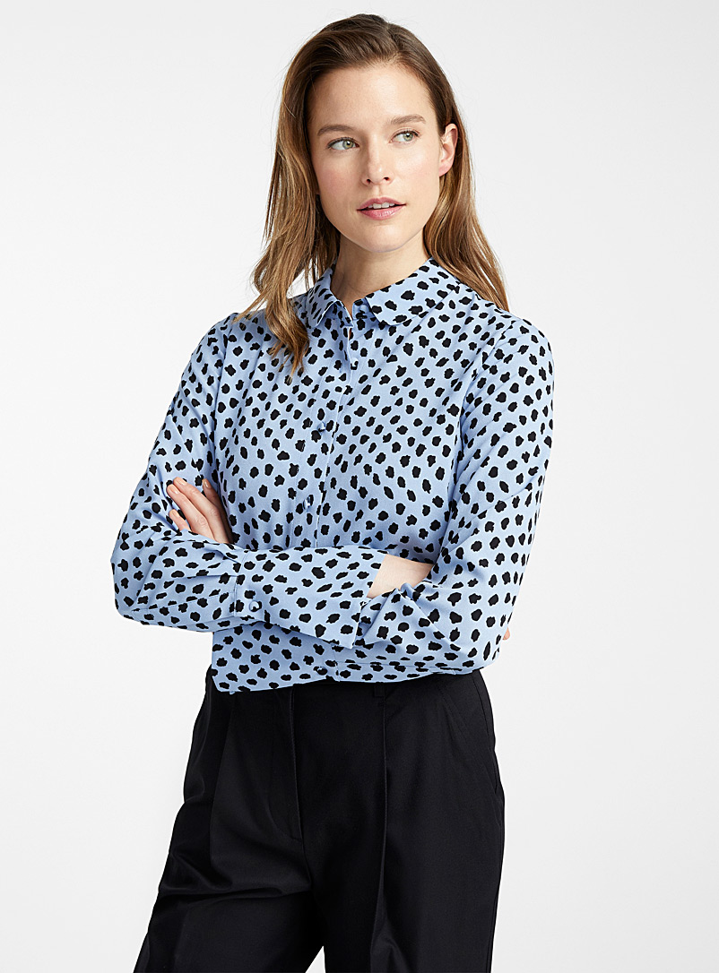 Essentiel Antwerp Patterned Blue Van trumpet-cuff spotted blouse for women