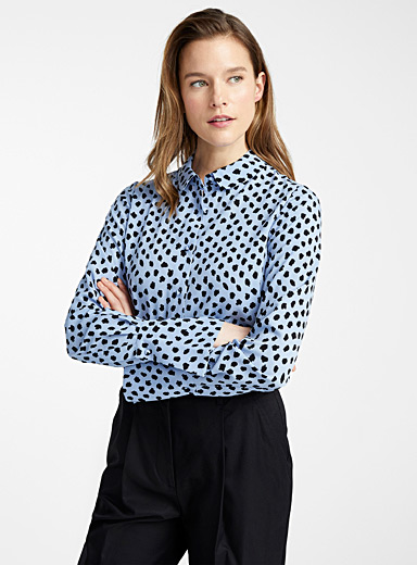 Van trumpet-cuff spotted blouse
