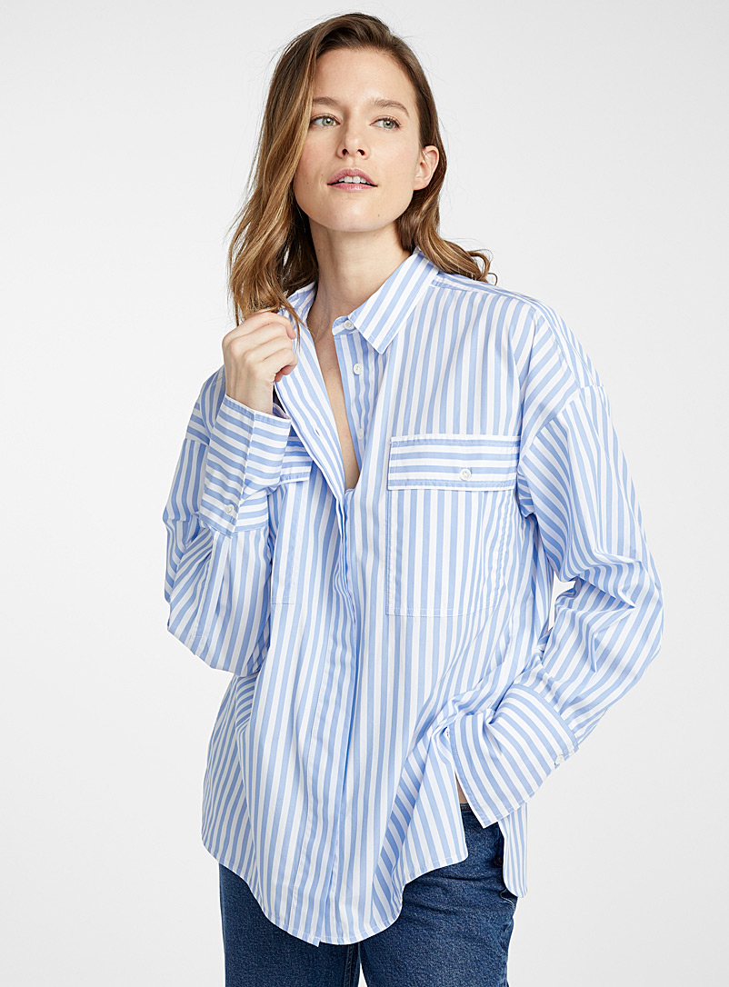 Essentiel Antwerp Patterned Blue Void pyjama-stripe blouse for women
