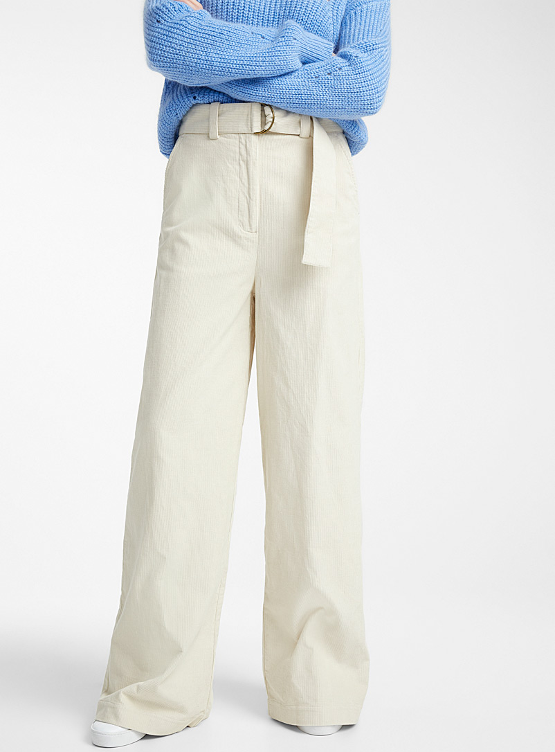 Essentiel Antwerp Ivory White Vreedom high-rise corduroy pant for women