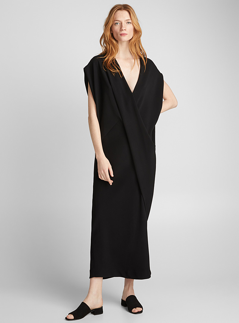 Crossover draping Peggy dress - Poiret - Black