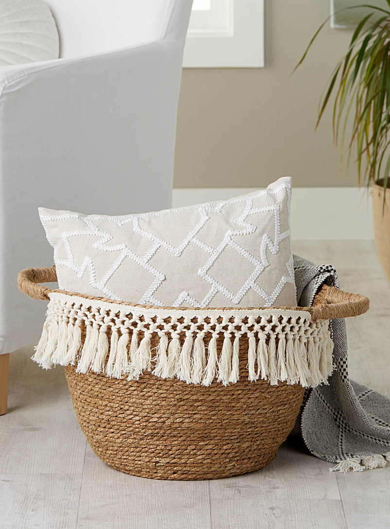 Macramé fringe and jute basket - Poufs - Assorted