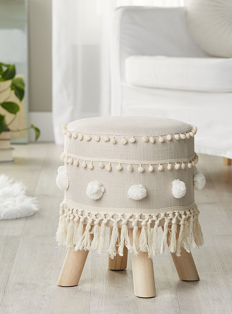 Simons Maison Ivory White Fringe and pompom stool