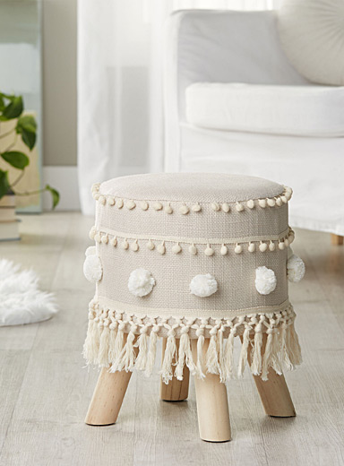 Fringe and pompom stool