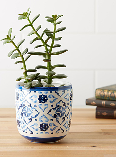 Indigo tile decorative jar