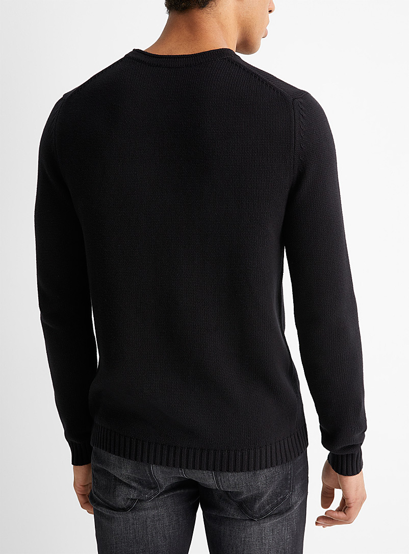 Le 31 Dark Blue 100% cotton knit sweater for men