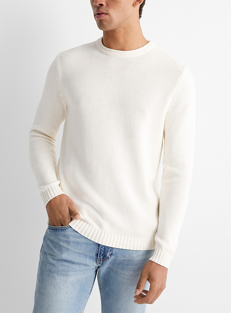 Le 31 Ivory White 100% cotton knit sweater for men