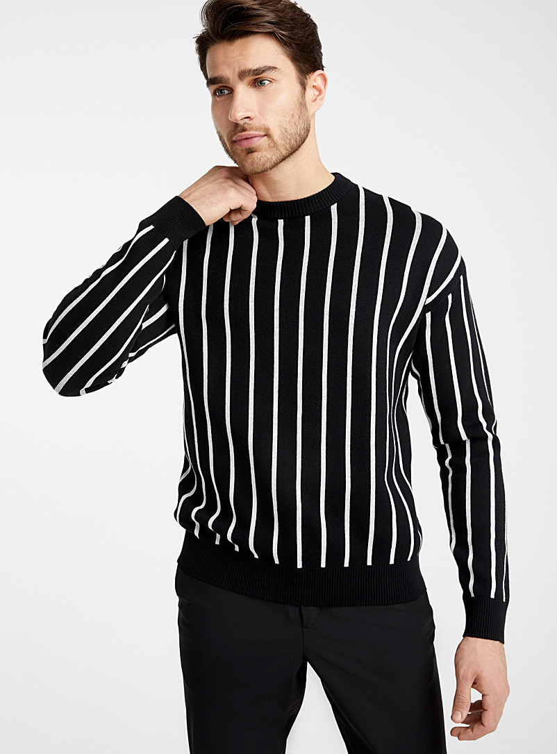 Le 31 Black Contrasting vertical stripe sweater for men
