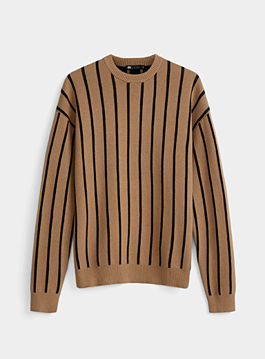 Le 31 Light Brown Contrasting vertical stripe sweater for men