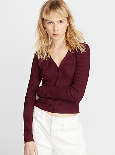 Finely ribbed cardigan