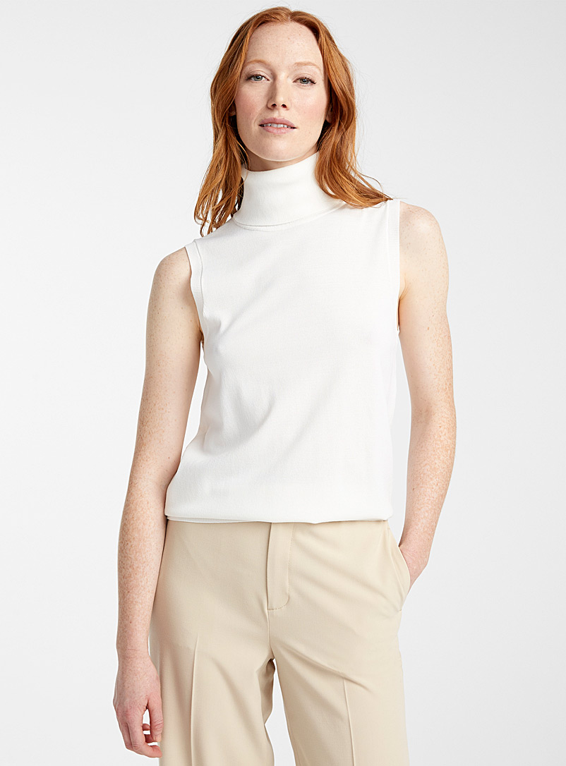Contemporaine Ivory White Sleeveless turtleneck for women