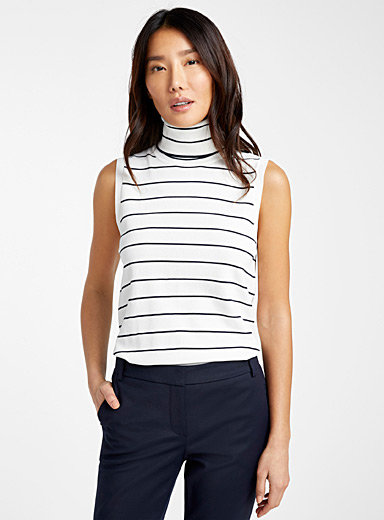 Contemporaine Patterned Blue Sleeveless turtleneck for women