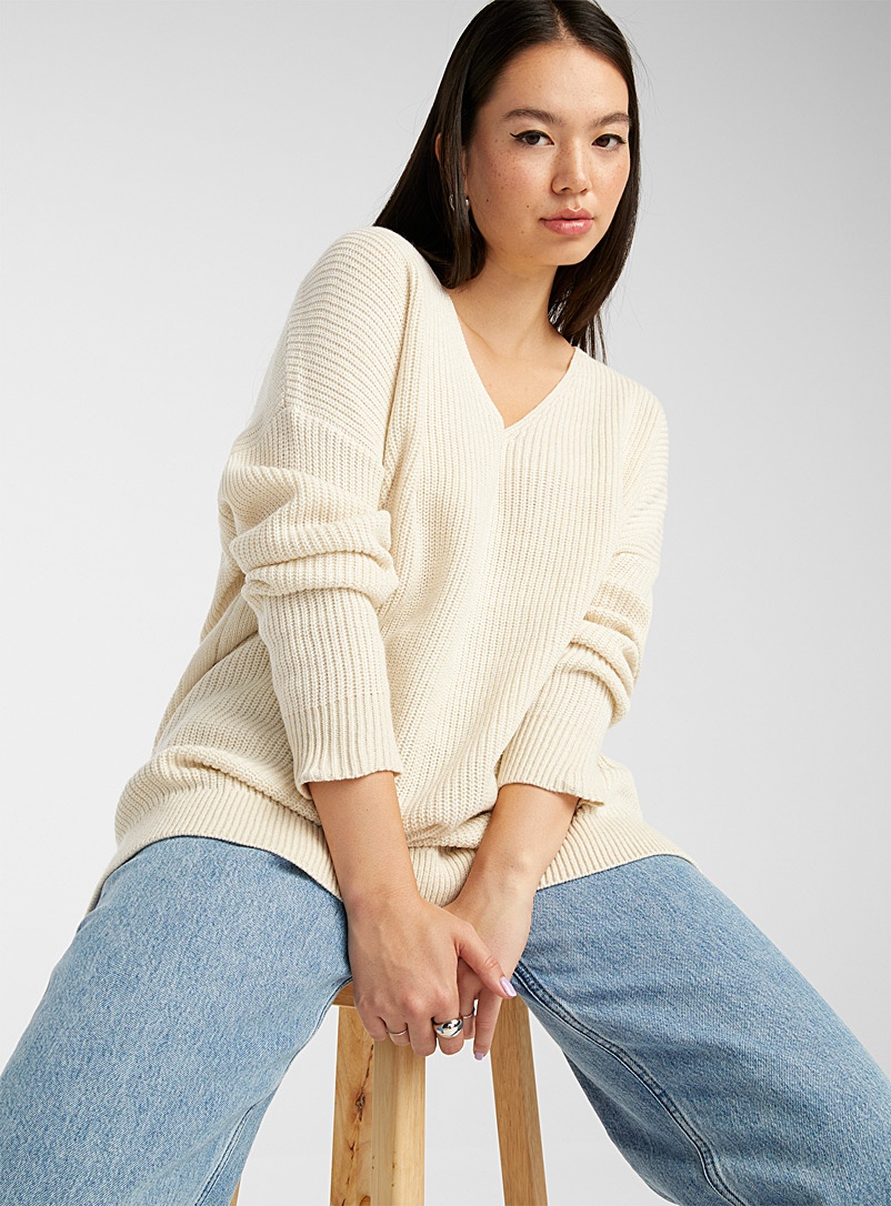 Twik Cream Beige Rib-knit V-neck sweater for women