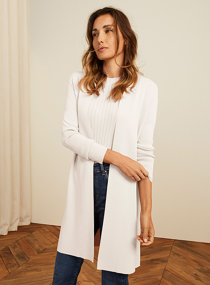 Contemporaine Ivory White Minimalist long open cardigan for women