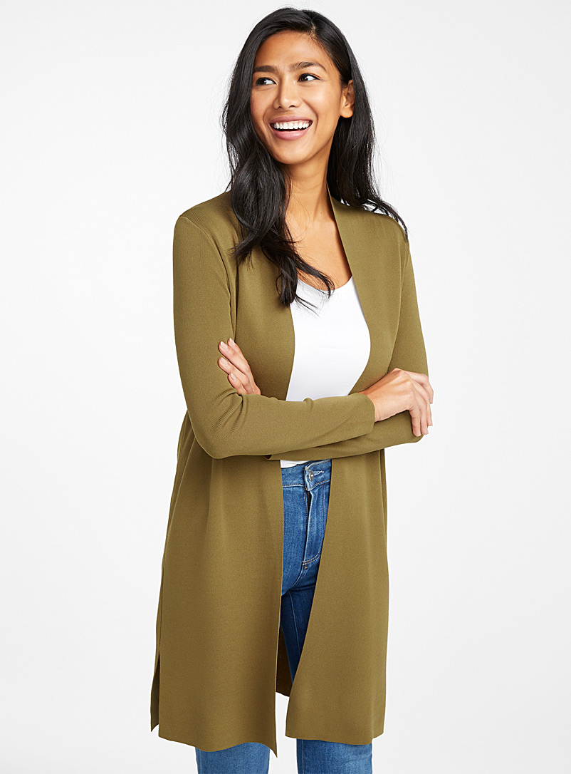 Contemporaine Khaki Minimalist long open cardigan for women