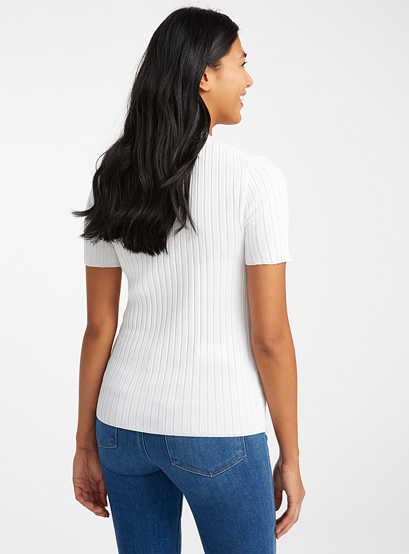 Contemporaine Ivory White Ribbed short-sleeve fitted sweater for women