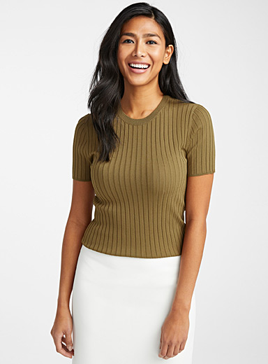 Contemporaine Khaki Ribbed short-sleeve fitted sweater for women