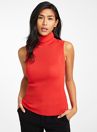 Contemporaine Dark Orange Sleeveless ribbed turtleneck for women