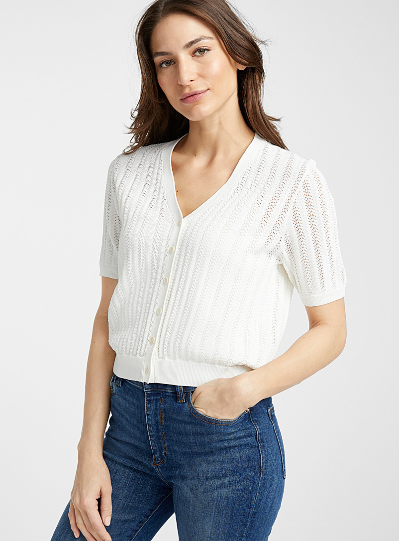 Contemporaine Ivory White Short sleeve pointelle cardigan for women