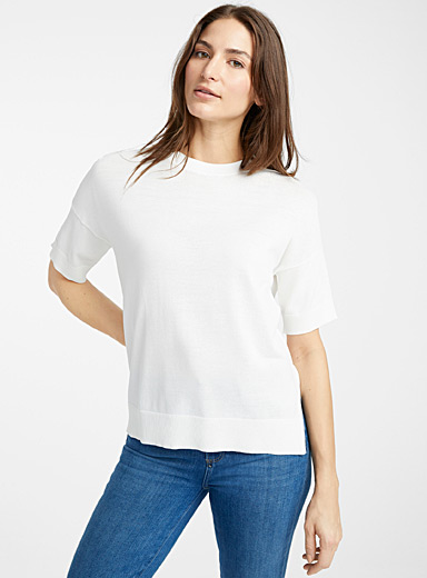 Contemporaine Ivory White Short-sleeve boxy sweater for women