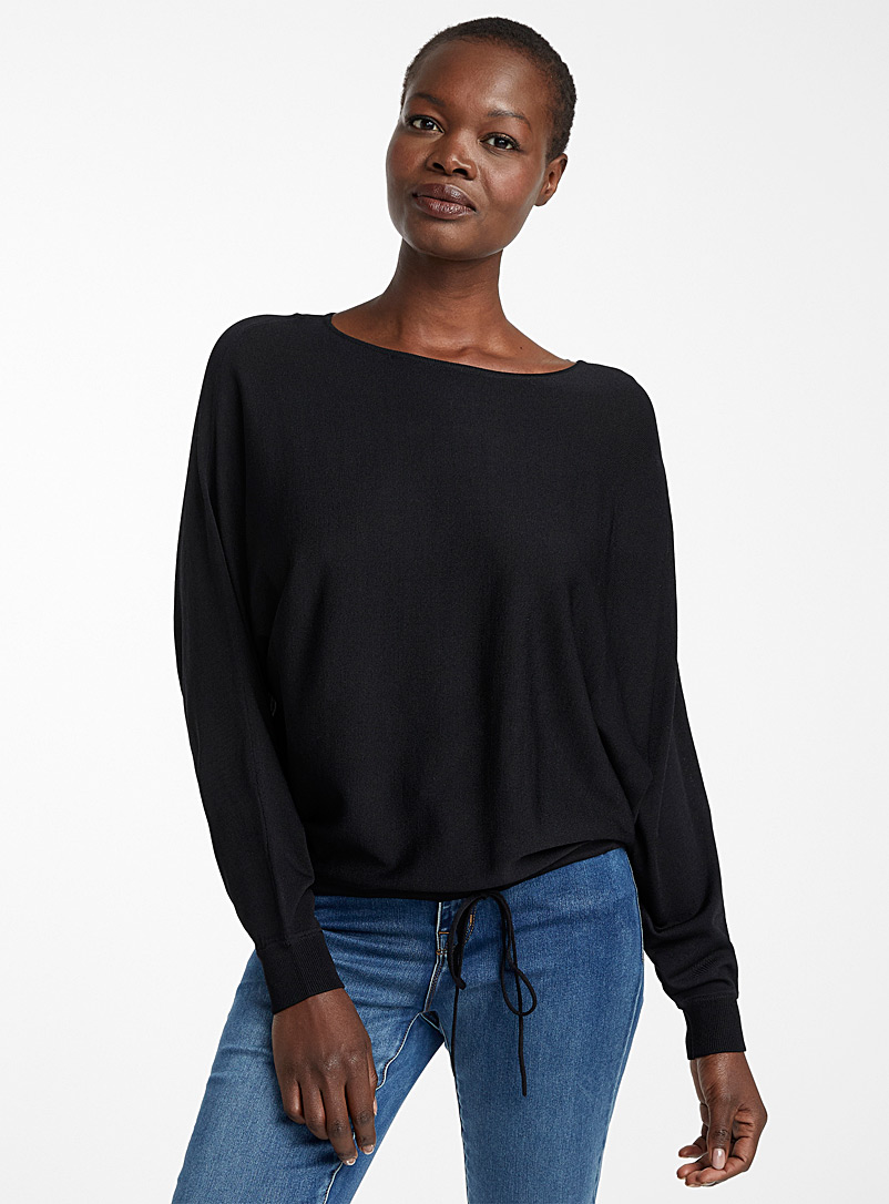 Contemporaine Black Loose tie-waist sweater for women