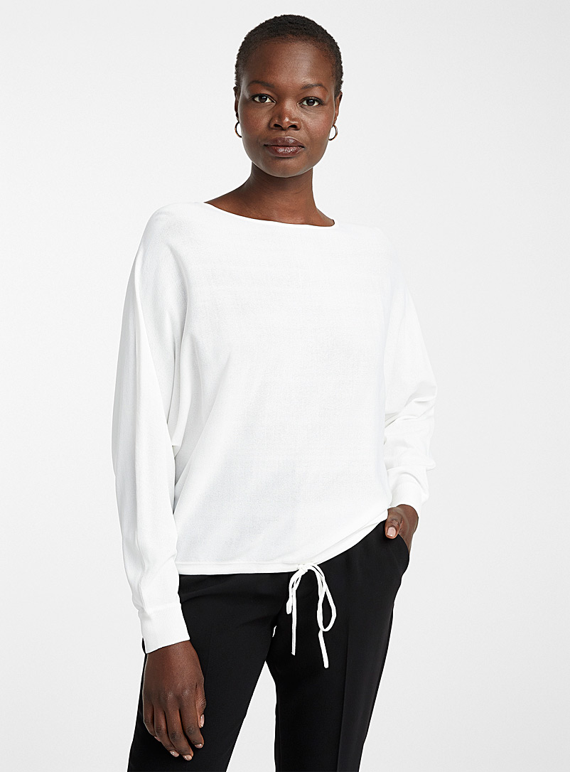 Contemporaine Ivory White Loose tie-waist sweater for women
