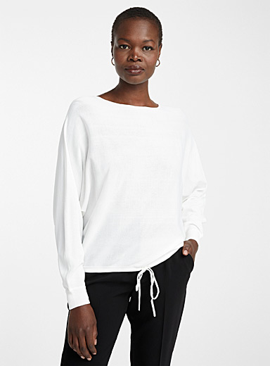 Loose tie-waist sweater