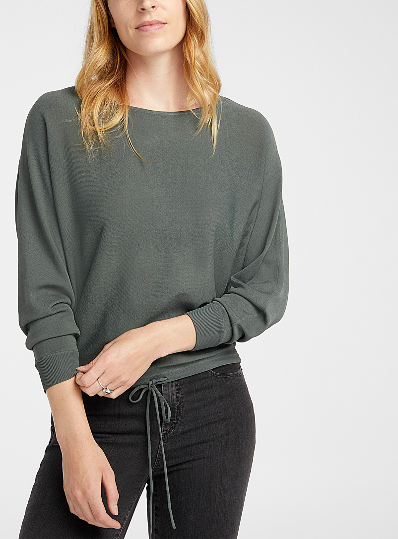 Contemporaine Mossy Green Loose tie-waist sweater for women