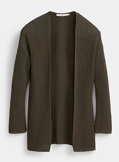 Contemporaine Mossy Green Open shaker rib cardigan for women