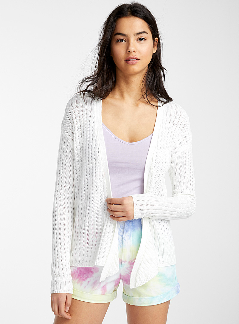 Twik Ivory White Tie ribbed cardigan for women