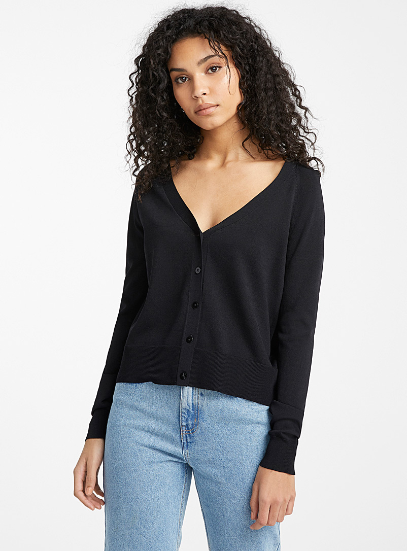 Ic?ne Black Low V cardigan for women
