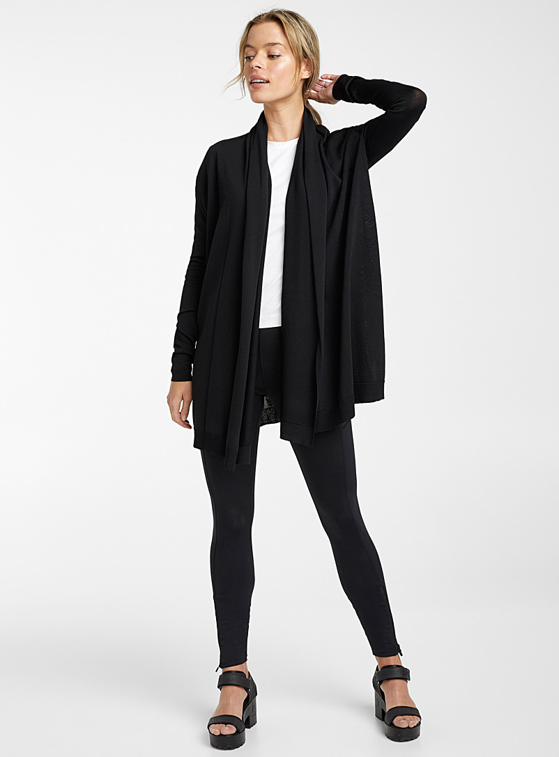 Ic?ne Black Long drape-collar cardigan for women