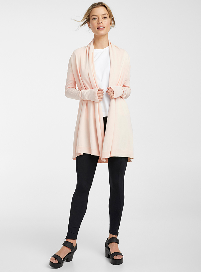 Ic?ne Dusky Pink Long drape-collar cardigan for women