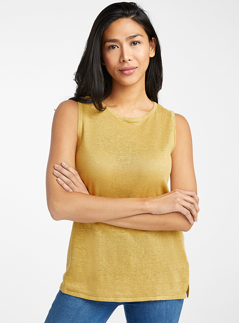Contemporaine Medium Yellow Organic linen round-neck tunic for women