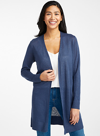 Long organic linen open cardigan