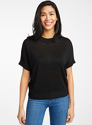 Contemporaine Black Loose organic linen sweater for women