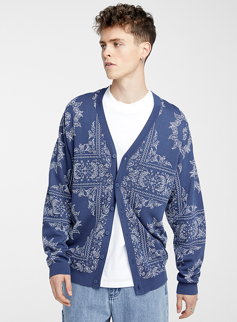 Djab Patterned Blue Summer jacquard cardigan for men
