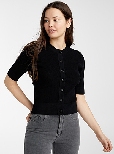 Puff-shoulder buttoned cardigan