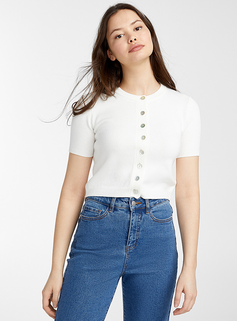 Twik Ivory White Pearly button cropped cardigan for women